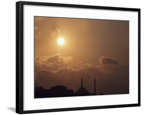 Silhouette of Steeples on Churches at Sunset in Istanbul, Turkey--Framed Art Print