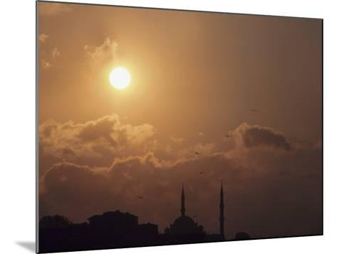 Silhouette of Steeples on Churches at Sunset in Istanbul, Turkey--Mounted Photographic Print