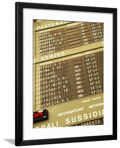 Electronic Train Schedule in Italian Langauge--Framed Art Print