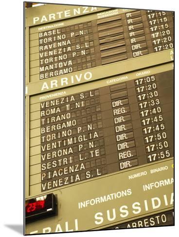 Electronic Train Schedule in Italian Langauge--Mounted Photographic Print