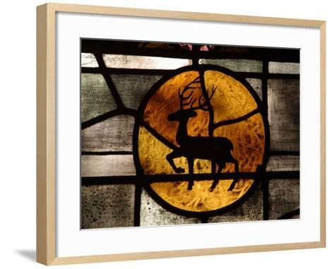 The Silhouette of a Deer in an Orange Circle on a Stained Glass Window--Framed Art Print