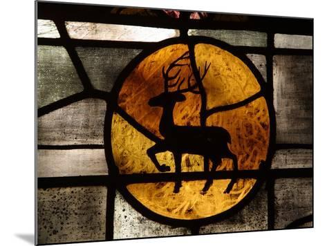 The Silhouette of a Deer in an Orange Circle on a Stained Glass Window--Mounted Photographic Print