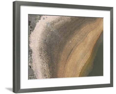 A Boulder with Lichens Growing and a Pool of Water Creating Layers of Color--Framed Art Print