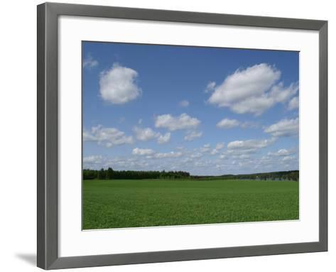 An Expanse of Lush Green Grass with Blue Sky and Flutty Clouds by a River--Framed Art Print