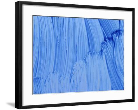 Close-up of Blue Paint Smeared in Thick Streaks--Framed Art Print
