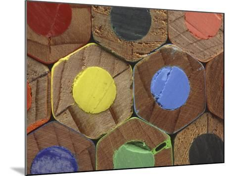 Bottoms of Colored Pencils--Mounted Photographic Print