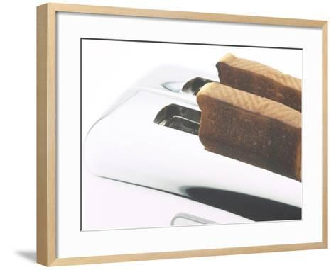 Toast Popping out of Sleek Stainless Steel Toaster--Framed Art Print