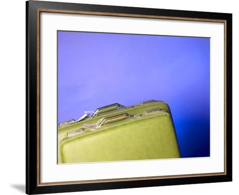 Two Green Vintage Suitcases with Travel Tags--Framed Art Print