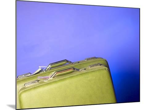 Two Green Vintage Suitcases with Travel Tags--Mounted Photographic Print