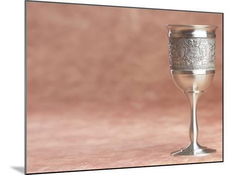 Elegant Silver Shabbat Cup with Hebrew Engraving--Mounted Photographic Print