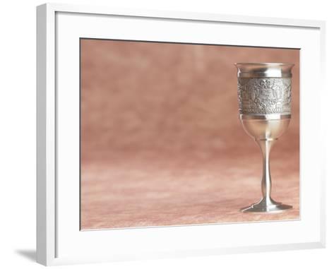 Elegant Silver Shabbat Cup with Hebrew Engraving--Framed Art Print