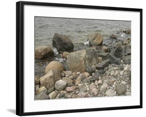 Large and Small Rocks on the Shore with Water Splashing--Framed Art Print