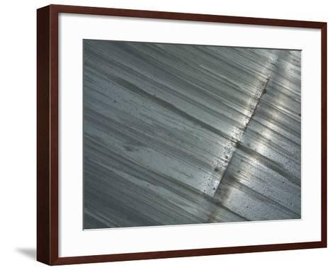 A Stained Metal Surface with a Long Scratch--Framed Art Print