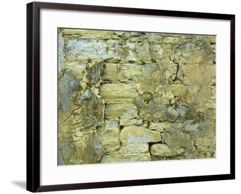 An Old Stone Wall with Crumbling Plaster--Framed Art Print