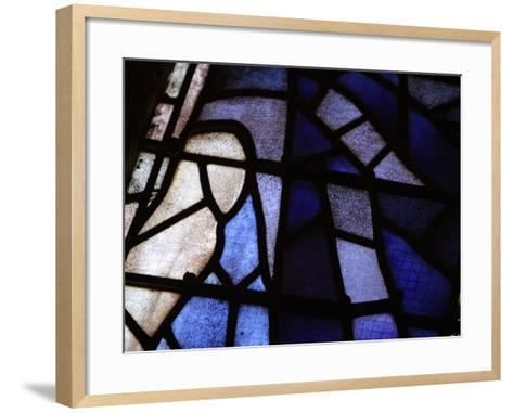 Close-up of Blue and White Panes of Stained Glass--Framed Art Print