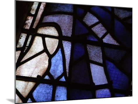 Close-up of Blue and White Panes of Stained Glass--Mounted Photographic Print