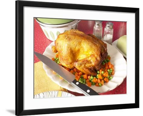 Roasted Whole Turkey and Vegetables with Cutting Knife--Framed Art Print