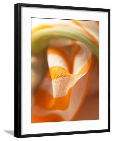 Orange and White Striped Material--Framed Art Print