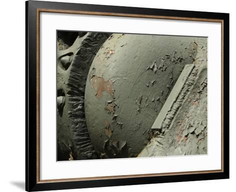 Close-up of Old Rusty Metal Machinery with Peeling Green Paint--Framed Art Print