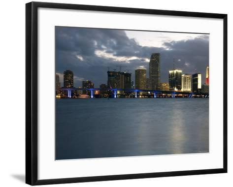 Scenic Skyline View with Illuminated Lights from Buildings in Miami, Florida--Framed Art Print
