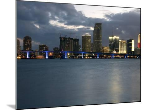 Scenic Skyline View with Illuminated Lights from Buildings in Miami, Florida--Mounted Photographic Print