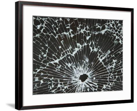 Close-up of a Hole in Cracked and Shattered Glass--Framed Art Print