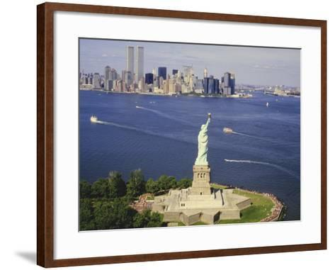 The Statue of Liberty and the New York Skyline--Framed Art Print