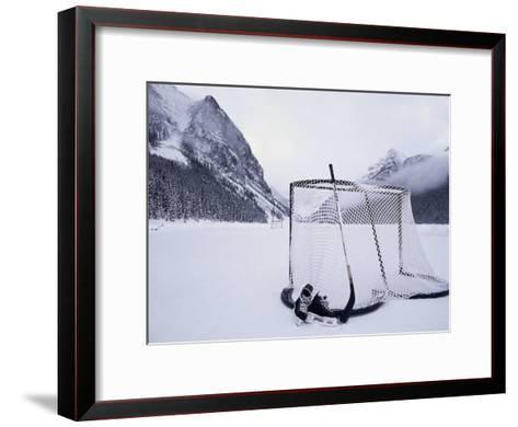 Ice Skating Equipment, Lake Louise, Alberta Framed Canvas Print by ...