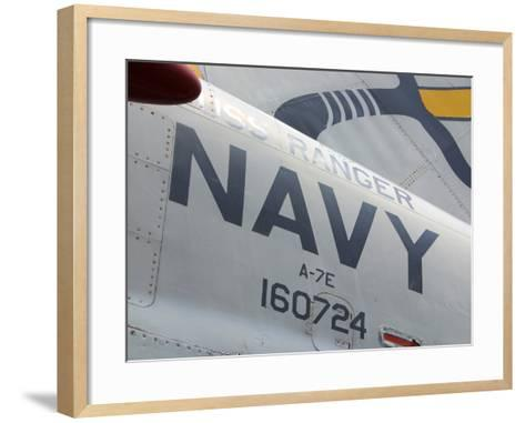 Close-up of an American Navy Jet with Lettering and Numbers--Framed Art Print
