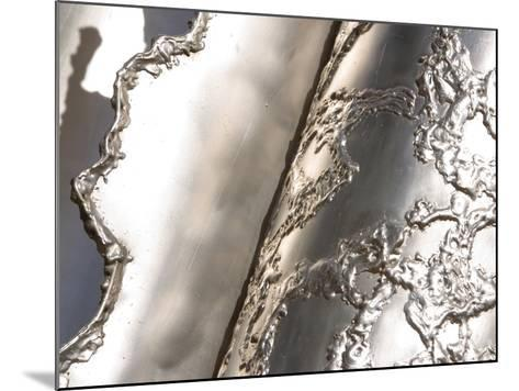 Close-up of Rough Texture Engraved on a Shiny Metallic Surface--Mounted Photographic Print