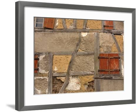 Close-up of a Rustic Stone House with Wood Beams and Small Windows--Framed Art Print