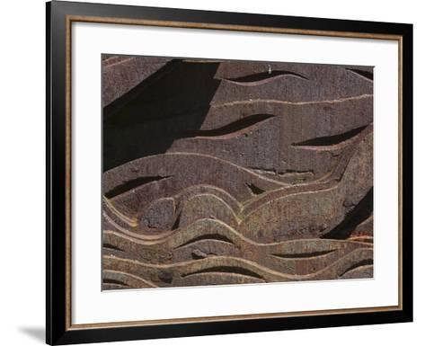 Close-up of the Carved Detail in Rusty Metal--Framed Art Print