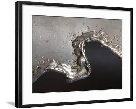 Close-up of Rough Texture Engraved on a Shiny Metallic Surface--Framed Art Print