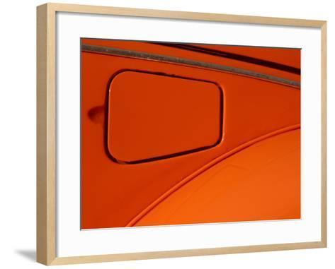 Close-up of the Gas Tank Lid on an Orange Car--Framed Art Print