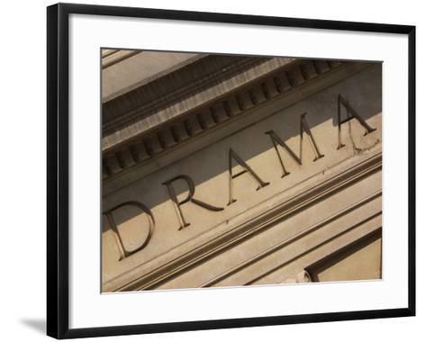 Drama Engraved on Building--Framed Art Print