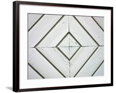 White Weathered Wooden Diamond Pattern--Framed Art Print