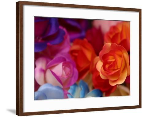 Vibrant and Colorful Arrangement of Beautiful Silk Roses--Framed Art Print
