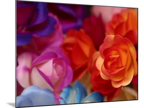 Vibrant and Colorful Arrangement of Beautiful Silk Roses--Mounted Photographic Print
