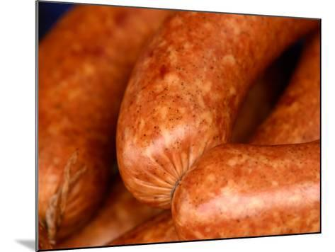 Close-Up of Sausages Linked Together--Mounted Photographic Print