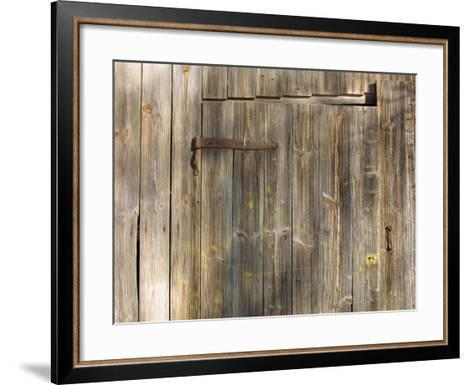 Weathered Wooden Door and Wall with Rusted Brass Hinge--Framed Art Print