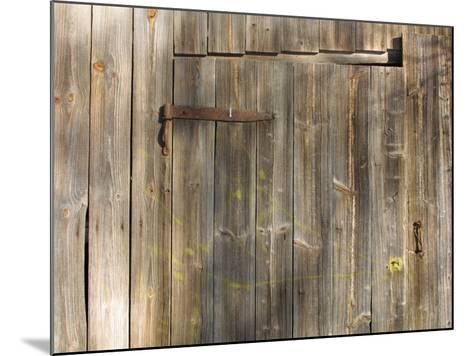 Weathered Wooden Door and Wall with Rusted Brass Hinge--Mounted Photographic Print