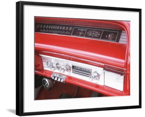 Vintage Red Dashboard of Car--Framed Art Print