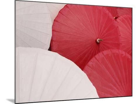 Colorful Open Asian Parasols--Mounted Photographic Print