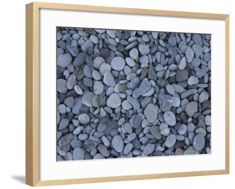 Close-up of Many Colorful Pebbles Under Clear Blue Water--Framed Art Print