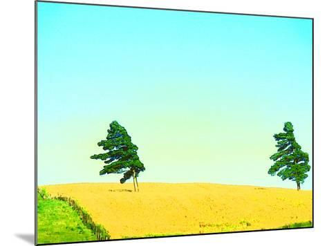 Two Trees in a Field Blowing in the Wind--Mounted Photographic Print