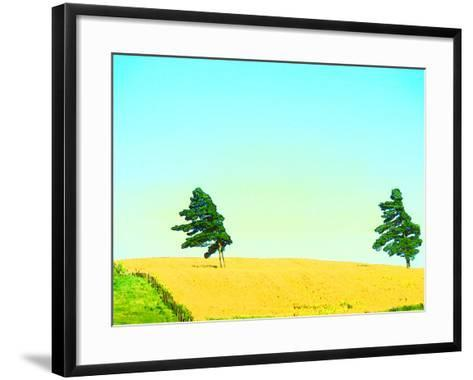 Two Trees in a Field Blowing in the Wind--Framed Art Print