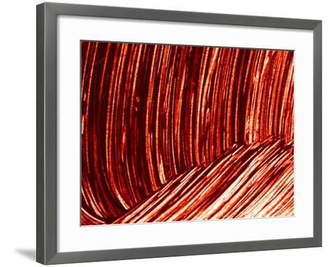 Close-up of Dark Red Paint Brushed into Swirls--Framed Art Print