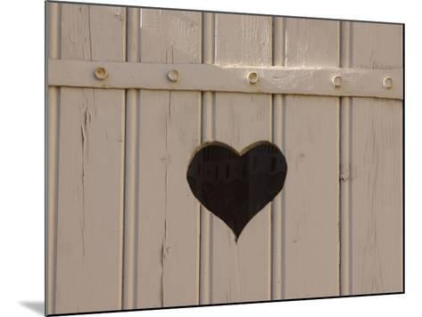 A White Picket Fence with a Black Heart Cut Out--Mounted Photographic Print