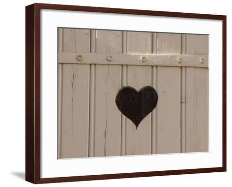 A White Picket Fence with a Black Heart Cut Out--Framed Art Print