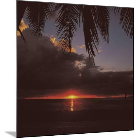 Colorful Tropical Sunset Over Dark Ocean--Mounted Photographic Print